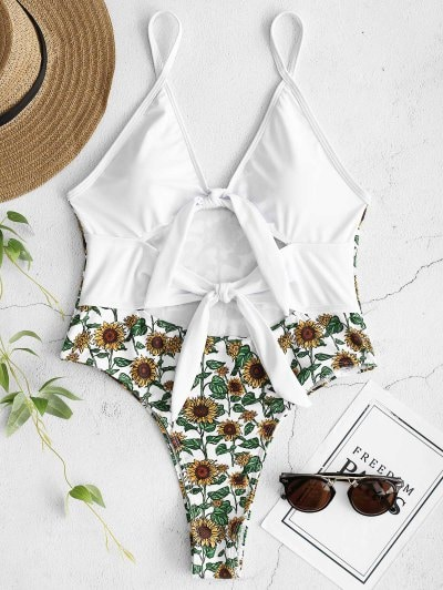 ZAFUL Sunflower Tied Backless Swimsuit