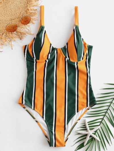 ZAFUL Colorful Striped Underwire Swimsuit