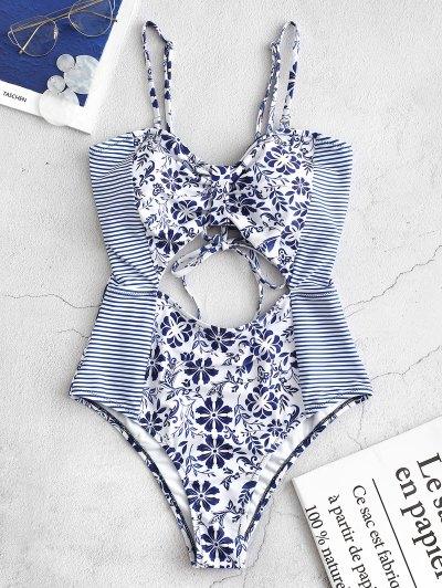 ZAFUL Striped Floral Cutout Bandeau Swimsuit