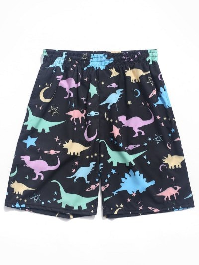 Dinosaur Moon and Star Print Board Shorts